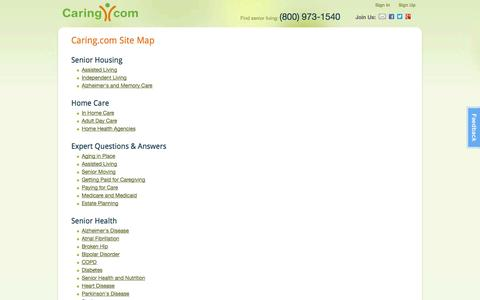 Screenshot of Site Map Page caring.com - Site Map | Caring.com - captured Oct. 28, 2014