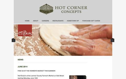 Screenshot of Press Page hotcornerconcepts.com - NEWS | Hot Corner Concepts - captured Feb. 1, 2016