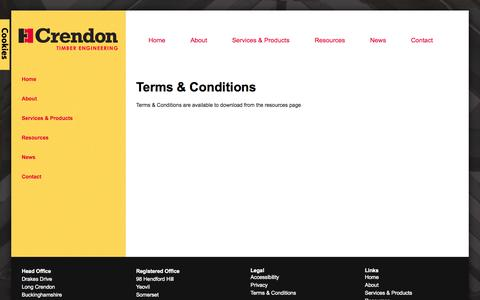 Screenshot of Terms Page crendon.co.uk - Terms & Conditions - Crendon Timber Engineering - captured Oct. 3, 2014