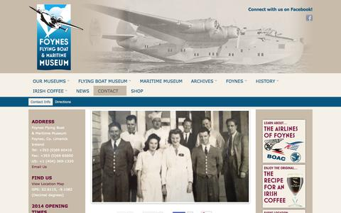 Screenshot of Contact Page flyingboatmuseum.com - Flying Boat Museum   Contact Info - captured Oct. 27, 2014