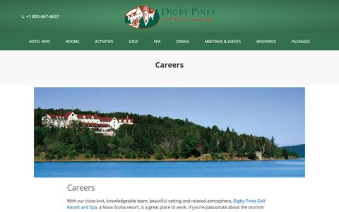 Screenshot of Jobs Page digbypines.ca - Careers - Digby Pines Golf Resort and Spa - captured Nov. 14, 2018
