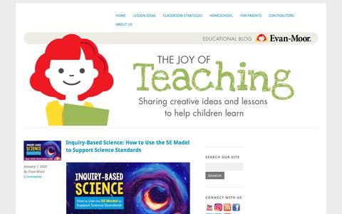 Screenshot of Blog evan-moor.com - The Joy of Teaching – An Evan-Moor Blog & Free Resources - captured Jan. 9, 2020