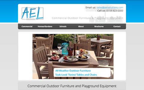 Screenshot of Home Page aelsolutions.com - AEL: Commercial Outdoor Furniture, Playground Equipment, School Playground Furniture,  Outdoor Furniture, Umbrellas and Awnings For Cafes, Pubs, Hotels, Restaurants, Leisure Groups, Bars - captured Sept. 18, 2015