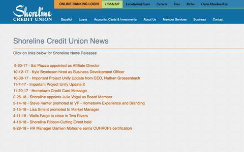 Screenshot of Press Page shorelinecu.org - : Shoreline Credit Union - captured Oct. 18, 2018