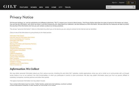 Privacy Notice | Gilt Groupe | About
