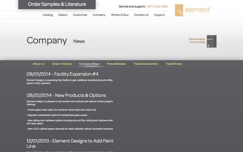Screenshot of Press Page element-designs.com - ºelement Designs - captured Dec. 2, 2015