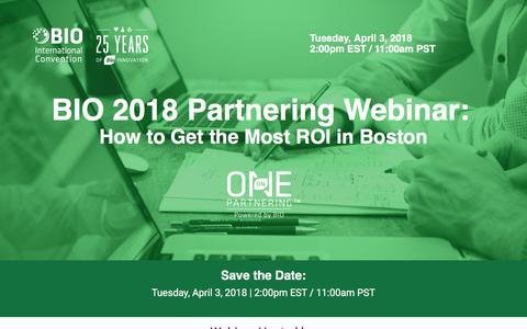 Screenshot of Landing Page bio.org - BIO 2018 Partnering Webinar: Basics of Partnering - captured March 31, 2018
