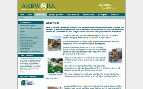 Screenshot of Services Page arbworx.com - What we do » 	Arbworx - captured Oct. 4, 2014
