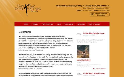 Screenshot of Testimonials Page stmatthias-milw.org - Testimonials – St. Matthias Catholic Parish - captured Feb. 16, 2016