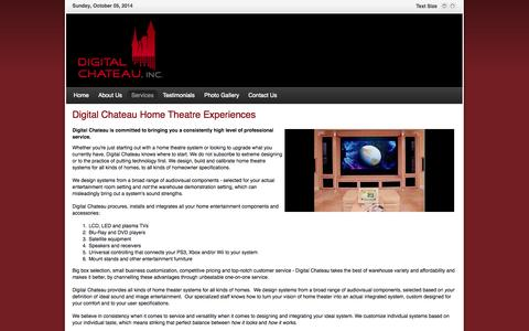 Screenshot of Services Page digitalchateau.com - Digital Chateau Home Theatre Experiences - captured Oct. 5, 2014