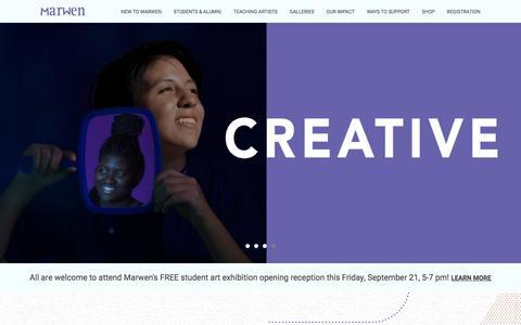 Screenshot of Home Page marwen.org - Marwen | Empowering Chicago Students Through Visual Arts - captured Sept. 20, 2018