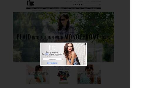 Screenshot of Home Page tfnclondon.com - Party Dresses - Fashion Online - Dresses Online - TFNC London UK - captured Sept. 19, 2014