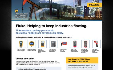 Screenshot of Landing Page fluke.com - Fluke. Helping to keep industries flowing. - captured Aug. 14, 2016