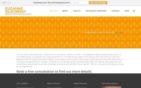 Screenshot of Services Page vancouverhealthcoach.com - Nutrition & Health Coaching Vancouver - captured July 16, 2015