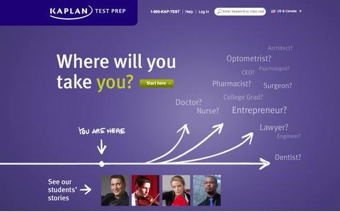 Screenshot of Home Page kaptest.com - Welcome to Kaplan Test Prep - captured Sept. 18, 2014