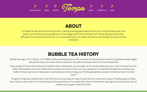 Screenshot of About Page tempoteabar.com - Tempo Tea Bar - captured Sept. 21, 2018