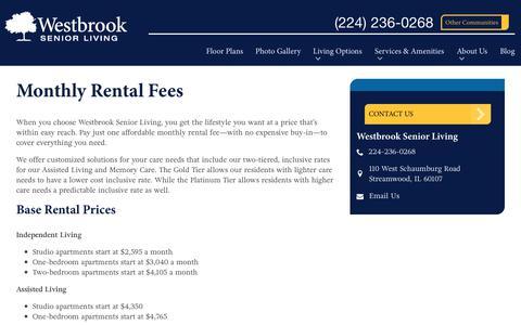 Screenshot of Pricing Page spectrumretirement.com - Monthly Rental Pricing   Westbrook Senior Living - captured Oct. 23, 2018