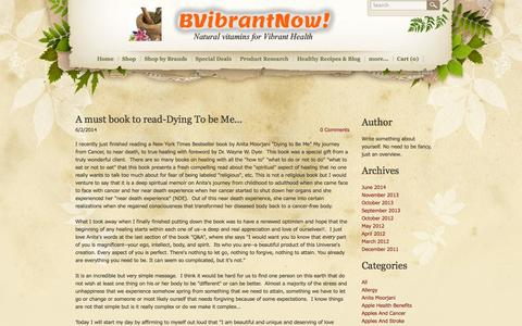 Screenshot of Blog bvibrantnow.com - BVibrantNow! Natural vitamins for Vibrant Health - Blog - captured Oct. 27, 2014
