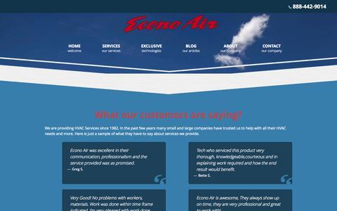Screenshot of Testimonials Page e-conoair.com - Testimonials   Econo Air   Southern California - captured Oct. 28, 2014
