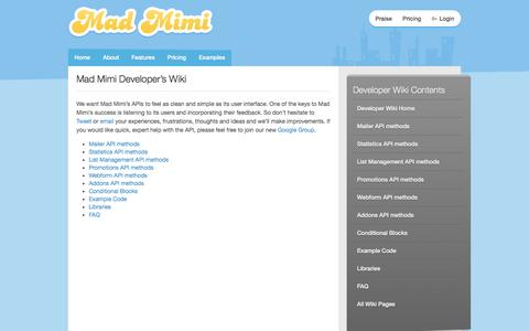 Screenshot of Developers Page madmimi.com - Developer's Wiki : Mad Mimi Email Marketing - captured Sept. 16, 2014