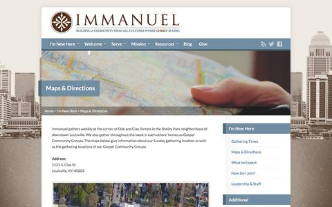 Screenshot of Maps & Directions Page ibclouisville.org - Maps & Directions - Immanuel Baptist Church - captured Feb. 10, 2016