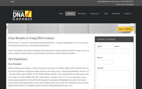 Screenshot of About Page dnaconnect.com - About Us | DNA Connect | DNA & Paternity Testing Philadelphia PA - captured July 31, 2016