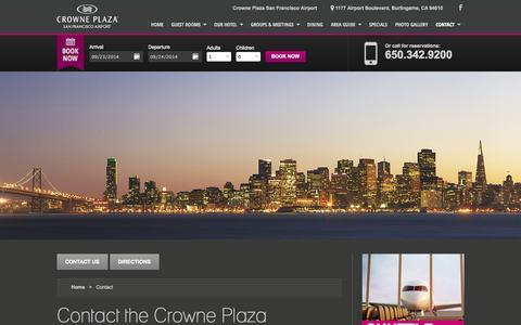 Screenshot of Contact Page sfocp.com - Contact Us | Crowne Plaza San Francisco Airport - captured Sept. 23, 2014