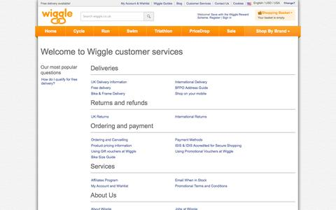 Screenshot of Support Page wiggle.co.uk - Wiggle Customer Services - captured Sept. 18, 2014