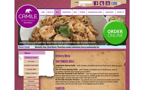 Screenshot of Menu Page camile.ie - Delivery Menu | Camile - captured Oct. 1, 2014