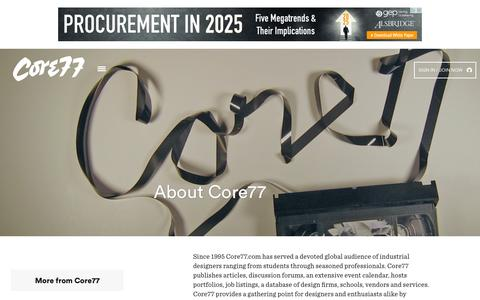 Screenshot of About Page core77.com - About - Core77 - captured July 24, 2015
