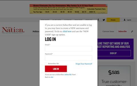 Screenshot of Login Page thenation.com - Login | The Nation - captured Jan. 13, 2016