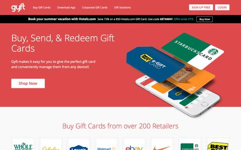 Screenshot of Home Page gyft.com - Gyft: Buy, Send & Redeem Gift Cards Online or with Mobile App - captured July 13, 2018
