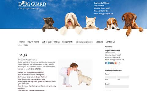 Screenshot of FAQ Page dogguardofil.com - Dog Guard   Dog Fence Illinois   Dog Fencing Chicago   Electric Dog Fences Aurora IL   Dog Fence Geneva   Yorkville Illinois Dog Fence   Dog Guard of Illinois - captured Oct. 5, 2014