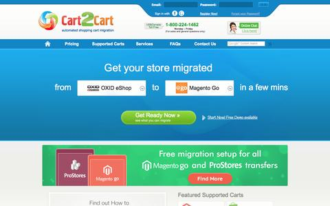 Screenshot of Home Page shopping-cart-migration.com - Cart2Cart - Automated Shopping Cart Migration Service - captured Sept. 18, 2014