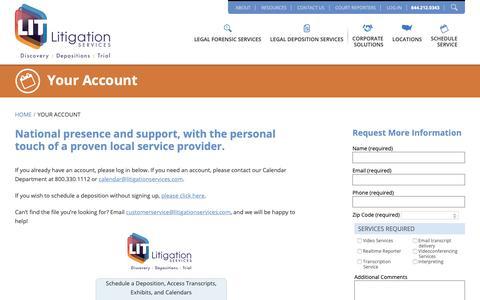 Screenshot of Login Page litigationservices.com - Your Account - Litigation Services - captured Feb. 7, 2019