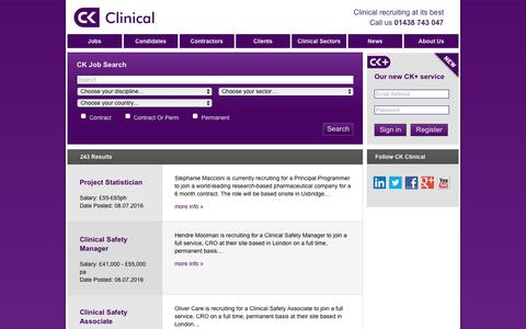 Screenshot of Jobs Page ckclinical.co.uk - Search for Jobs here - find the right one for you | CK Clinical - captured July 9, 2016