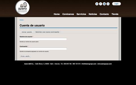 Screenshot of Login Page azerogrupo.com - Cuenta de usuario | azero - captured Oct. 4, 2014