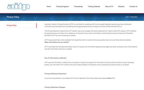 Screenshot of Privacy Page aitp.com.au - Privacy Policy - AITP - captured Nov. 19, 2016