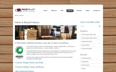 Screenshot of Products Page pacepalletservices.com.au - Pace Pallets Product Range | Pace Pallet Services - captured Dec. 7, 2018