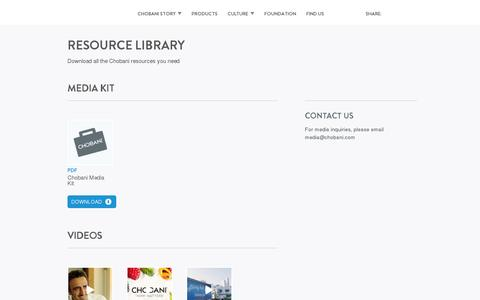 Screenshot of Press Page chobani.com - Chobani Yogurt -Resource Library - Chobani Yogurt - captured July 18, 2014