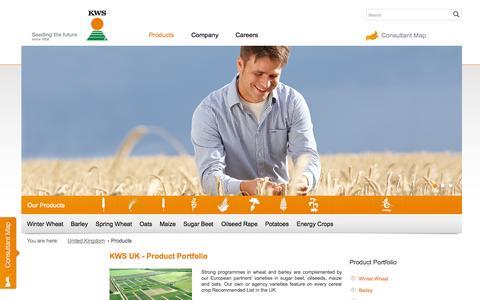 Screenshot of Products Page kws-uk.com - KWS UK Ltd.- Products - captured Oct. 6, 2014