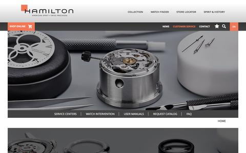 Screenshot of Support Page hamiltonwatch.com - Customer Service | Hamilton Watch - captured Jan. 25, 2016