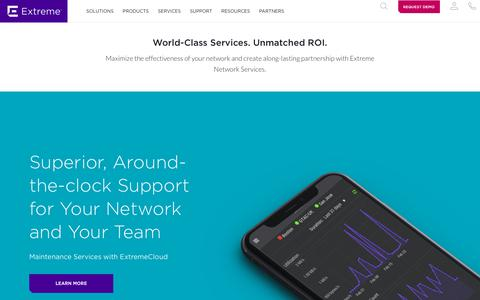 Screenshot of Services Page extremenetworks.com - Services - Extreme Networks - captured July 17, 2018