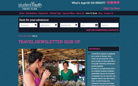 Screenshot of Signup Page sytc.travel - Student Youth Travel Club Sign Up - captured Nov. 14, 2016