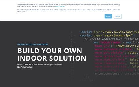 Screenshot of Developers Page navvis.com - NavVis | Develop a Solution - captured Oct. 19, 2018