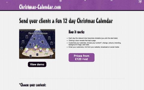 Screenshot of Home Page christmas-calendar.com - Christmas Calendar | Online Advent Calendar | Christmas Marketing | Game Advent Calendar - captured March 27, 2016
