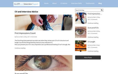 Screenshot of Blog thecvandinterviewexpert.co.uk - CV and Interview Advice - captured Oct. 18, 2018