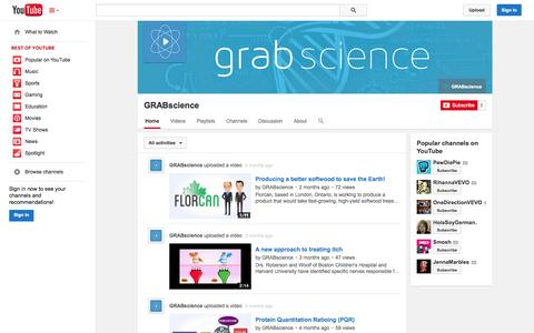 Screenshot of YouTube Page youtube.com - GRABscience  - YouTube - captured Oct. 29, 2014