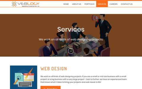 Screenshot of Services Page veblogy.com - Services - Veblogy Innovative Technology PVT. LTD - A Web Design and Development Company - captured Oct. 18, 2018