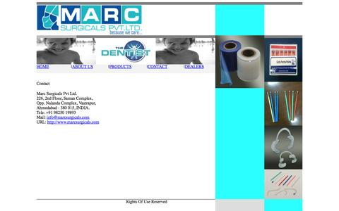 Screenshot of Contact Page marcsurgicals.com - Marc Surgicals Pvt Ltd - Disposable dental products, GP points, orthopedic and spinal implants, Ophthalmic full range - captured Oct. 27, 2014